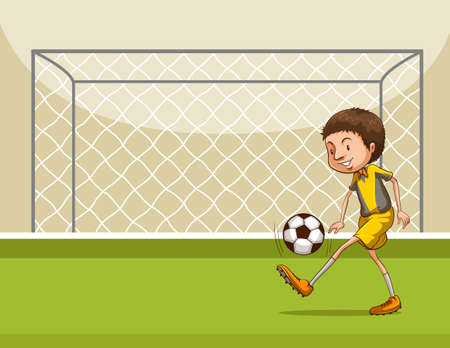 football net: Boy playing football in the football field Illustration