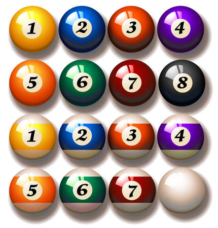 pool balls: Set of pool balls in solid and striped colors