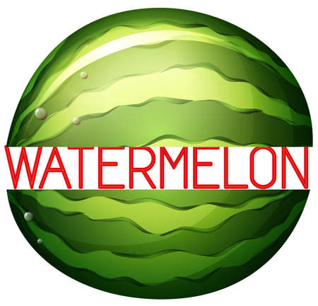 close up food: Large watermelon with text in red
