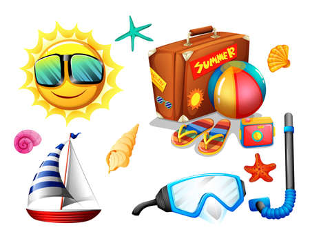 summer holiday: Summer holiday objects and traveling pack
