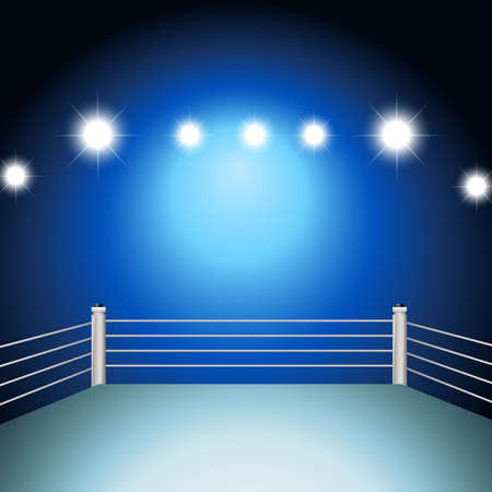 boxing sport: Boxing ring with illuminated light Illustration