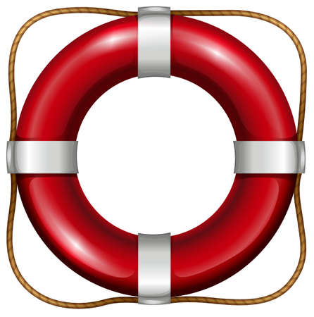 floating: Red life saver with rope attached