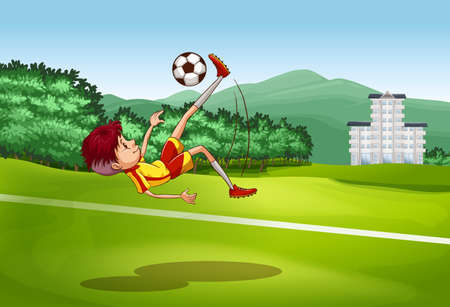 kicking: Boy kicking soccer ball in the field at daytime Illustration