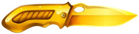 blade: Single golden knife with sharp blade Illustration