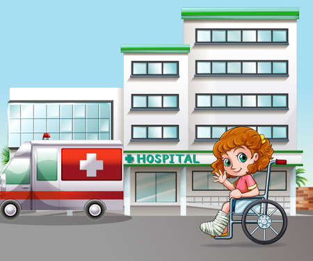 cartoon landscape: Girl in wheelchair at the hospital Illustration