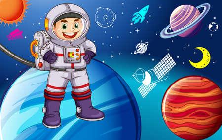 sonne mond und sterne: Astronaunt in Raumanzug den Raum erkunden Illustration