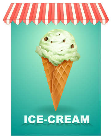 Ice cream cone on banner with text Illustration