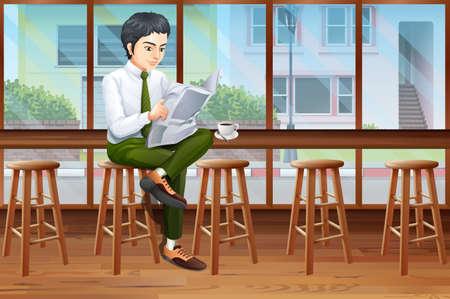 L'homme de boire du café et lisant le journal dans le café