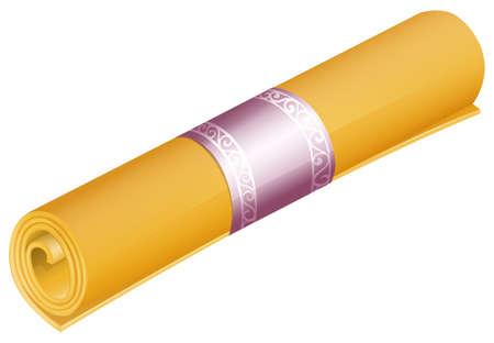mat: Roll of yellow yoga mat