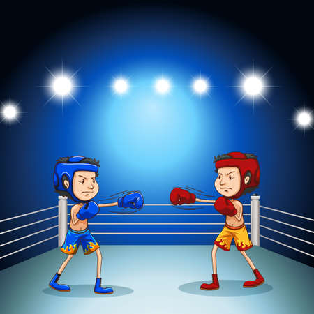 boxing ring: Two boxers boxing in the arena