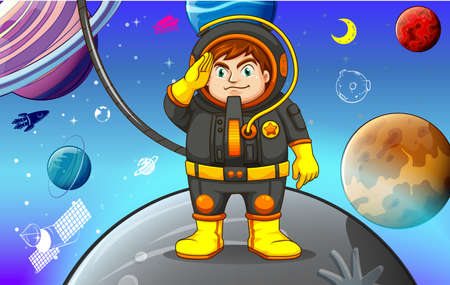 exploring: Astronaunt exploring planets in the solar system Illustration