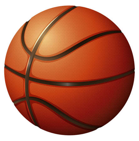 Close up basketball in simple design