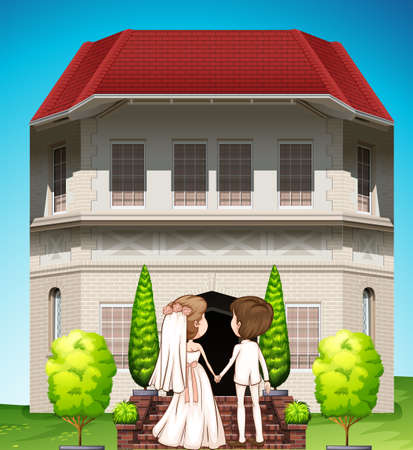 spouses: Bride and groom holding hand at the wedding Illustration