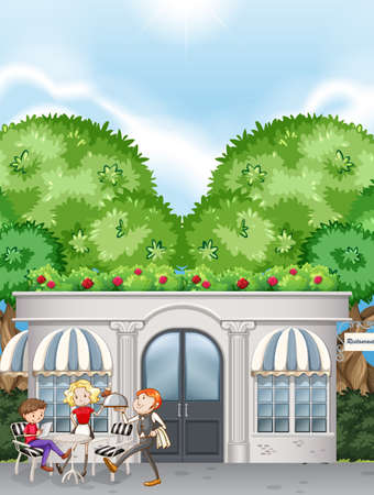 tree service pictures: People at restaurant with outdoor dining zone Illustration