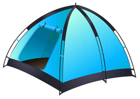 solitary: Blue tent with the door opened