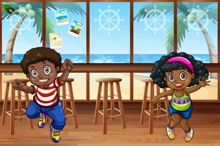 window bars: African children dancing in the restaurant Illustration