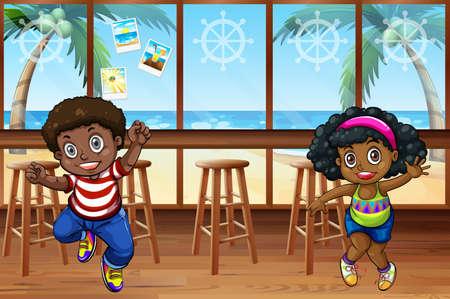 Afrikaanse kinderen dansen in het restaurant Stockfoto - 42358797