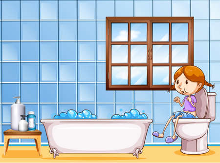 clean bathroom: Girl sitting in the toilet next to the bathtub