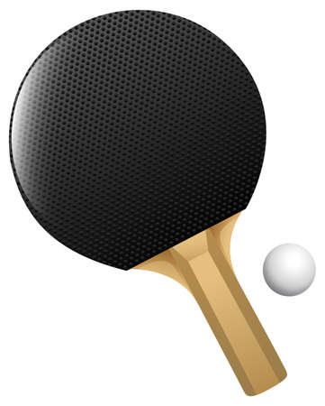 wooden circle: Black table tennis racket with ball