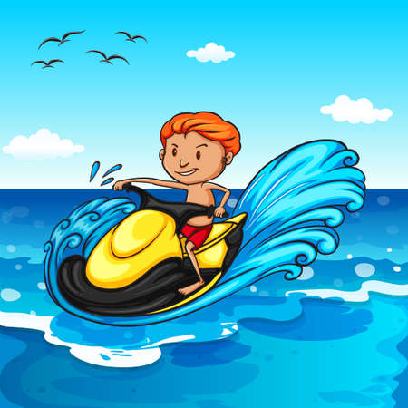 jetski: Man riding on water jetski in the ocean Illustration