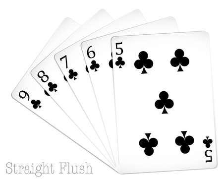 six objects: Set of poker cards in black Illustration