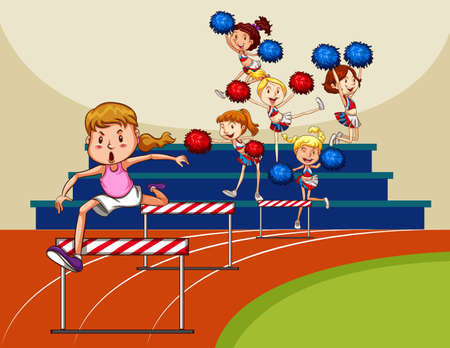 obstacles: Girl jumping over obstacles in the field Illustration