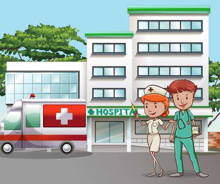 Arts en verpleegkundige in het ziekenhuis gebouw Stock Illustratie