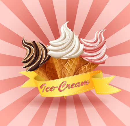 helado caricatura: Tres diferentes sabores de helado suave