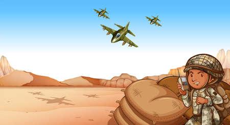 cartoon soldat: Soldat im Gespräch über Funk an das Kriegsgebiet Illustration