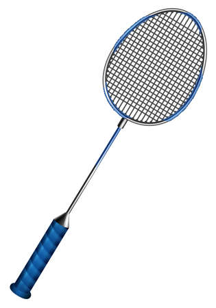 badminton: Blue badminton racket with net