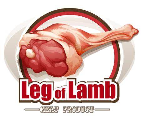 wording: Raw leg of lamb with wording