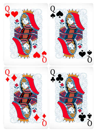 queen of clubs: Four different poker cards with classic design