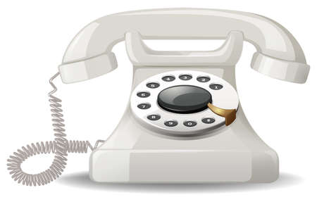 telephone line: Analog telephone with simple design Illustration