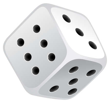 Single dice with black dots