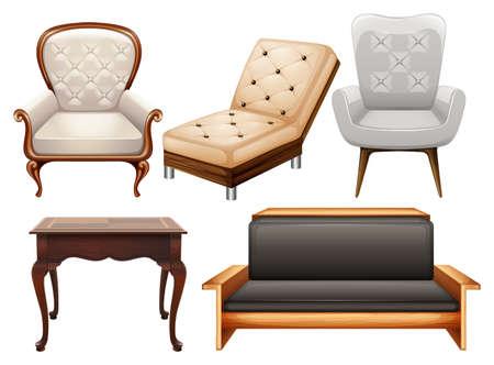 Verschillende soorten stoelen in luxe ontwerpen Stock Illustratie