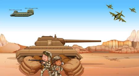 cartoon soldat: Soldaten kämpfen auf dem Schlachtfeld durch den Tank Illustration