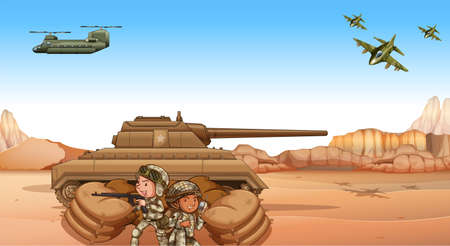 Soldiers fighting in the battle field by the tank