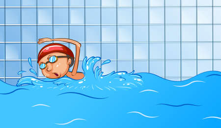 cartoon swimming: Swimmer swimming in the indoor pool