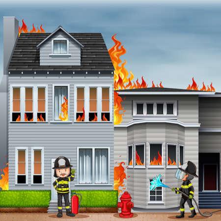 brandweer cartoon: Huis in brand en twee brandweerlieden werken bij de scène