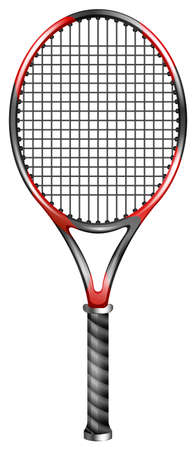 Single tennis racket with black handle Ilustração