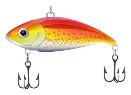 Plastic orange fishing lure with hooks