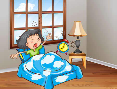 children room: Girl in bed waking up in the morning Illustration
