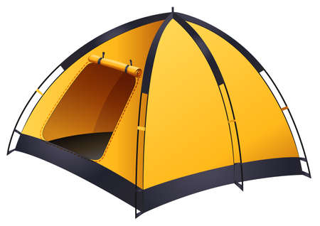 Yellow camping tent met deur geopend Stockfoto - 42358853