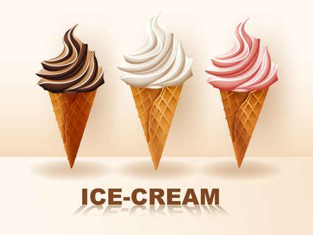 Three flavors of ice-cream in cone
