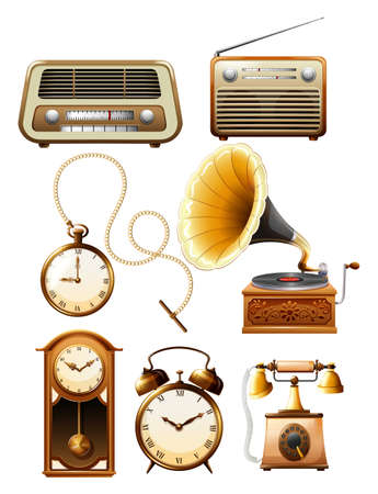 old phone: Different kind of vintage objects