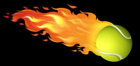 tennisball: Flaming tennis ball on black illustration