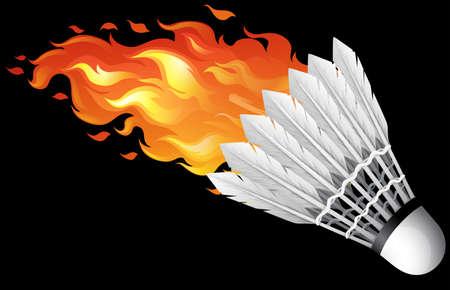 shuttlecock: Flaming shuttlecock on black illustration