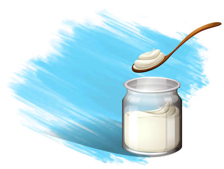 brush stroke: Yoghurt or cream with brush stroke illustration