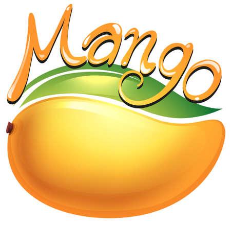 白図にマンゴーの食品のラベル  イラスト・ベクター素材