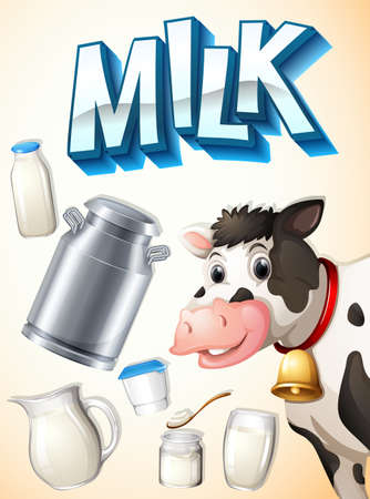 milk cow: Milk, cow and dairy foods illustration